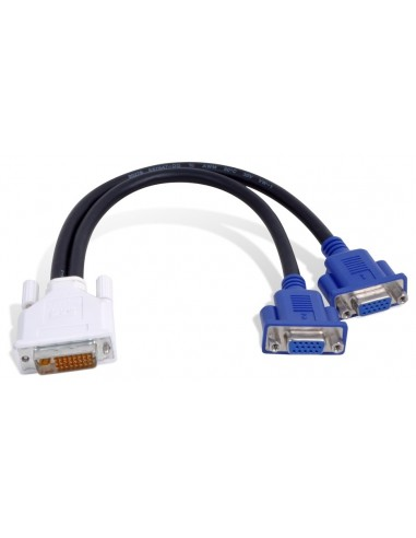 Matrox DVI-I - HD15 2 x VGA (D-Sub) Svart Matrox CAB-DVI-2XAF - 1