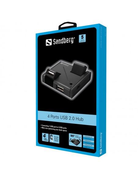 Sandberg USB Hub 4 Ports 2.0 480 Mbit/s Musta Sandberg 133-67 - 2