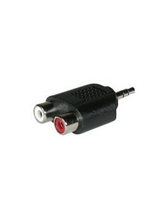 C2G Stereo/Dual RCA Adapter 2x FM 3.5mm Stereo M Musta C2g 80471 - 1