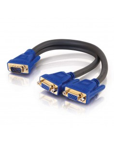 C2G Ultima HD15 Male to Dual Female SXGA Monitor Y-Cable DVI cable 0.3 m 2 x DVI-I Black, Blue C2g 81174 - 1