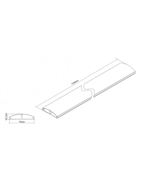 Multibrackets M Cable Cover SS Aluminum 75mm W - 1100mm L Multibrackets 7350022733831 - 5