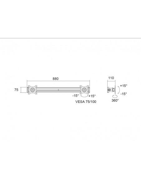 "Multibrackets M Public Display Stand Dual Screen Mount 15""-32"" Black Multibrackets 7350022736375 - 5"