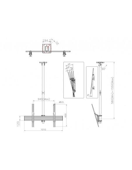 """Multibrackets 5778 kyltin näyttökiinnike 190.5 cm (75"""") Musta Multibrackets 7350073735778 - 9"""