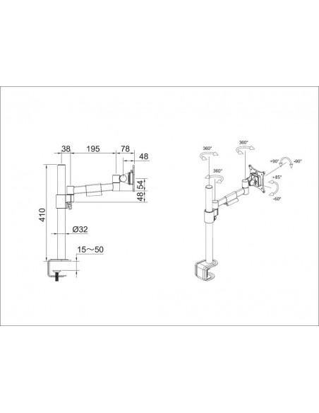 """Multibrackets 5839 monitorin kiinnike ja jalusta 76.2 cm (30"""") Puristin/Läpipultattu Musta Multibrackets 7350073735839 - 6"""