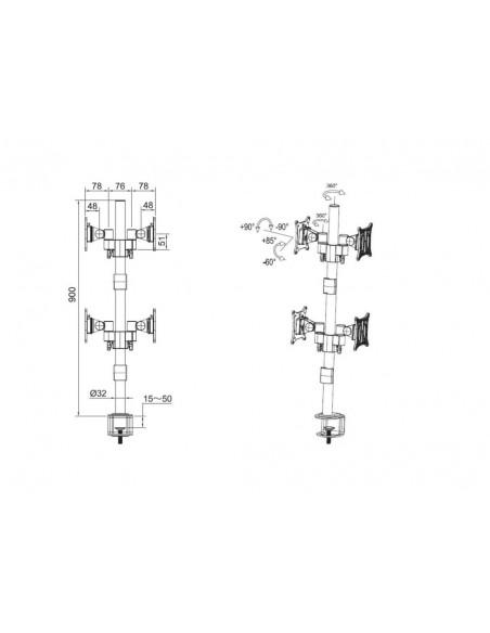 """Multibrackets 5907 monitorin kiinnike ja jalusta 76.2 cm (30"""") Puristin/Läpipultattu Musta Multibrackets 7350073735907 - 6"""