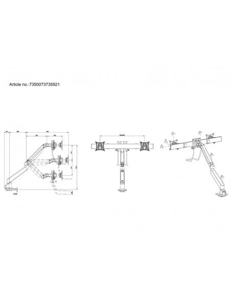 Multibrackets M VESA Gas Lift Arm Single Black w. Duo Crossbar Multibrackets 7350073735921 - 11