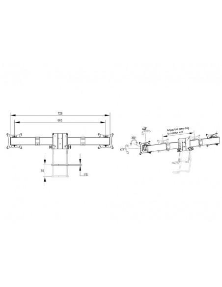 Multibrackets M VESA Gas Lift Arm Single White w. Duo Crossbar Multibrackets 7350073735945 - 12