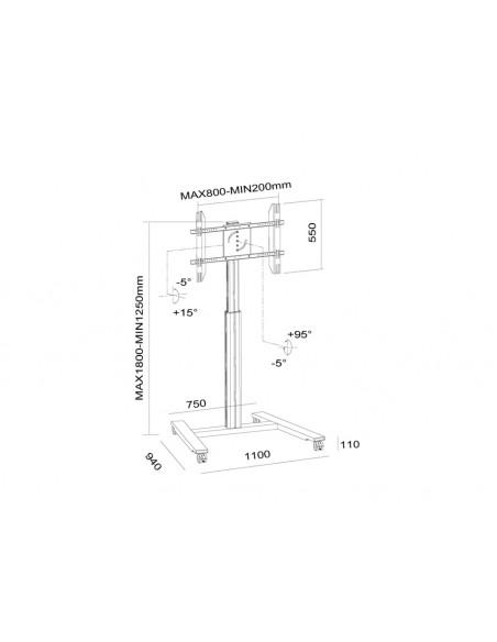 """Multibrackets 6096 kyltin näyttökiinnike 152.4 cm (60"""") Hopea Multibrackets 7350073736096 - 21"""
