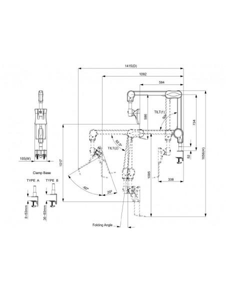 """Multibrackets 8816 monitorin kiinnike ja jalusta 68.6 cm (27"""") Puristin/Läpipultattu Valkoinen Multibrackets 7350073738816 - 9"""