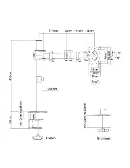 "Newstar NM-D135 76.2 cm (30"") Klämma/Genomgående skruv Svart Newstar NM-D135BLACK - 10"