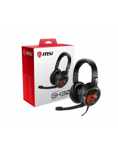 MSI IMMERSE GH30 Gaming Headset 'Black with Iconic Dragon Logo, Wired Inline Audio splitter accessory, 40mm Drivers Msi S37-2101