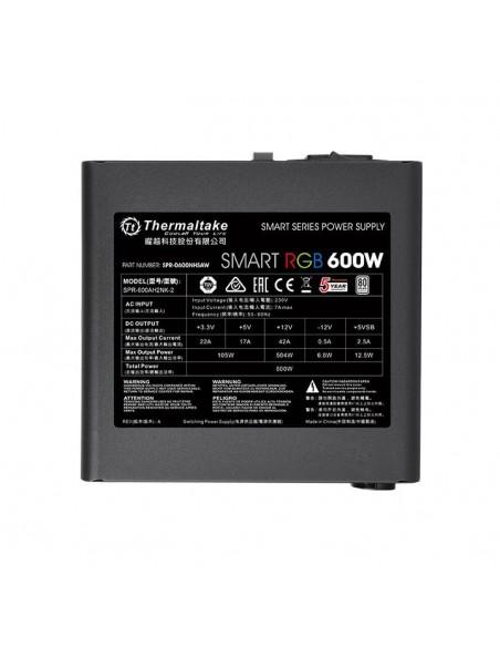 Thermaltake Smart RGB virtalähdeyksikkö 600 W 20+4 pin ATX Musta Thermaltake PS-SPR-0600NHSAWE-1 - 4