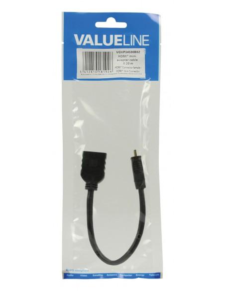 Valueline HDMI-mini C - HDMI, 0.2m HDMI-kaapeli 0.2 m HDMI Type (Mini) HDMI-tyyppi A (vakio) Musta Valueline VGVP34590B02 - 3