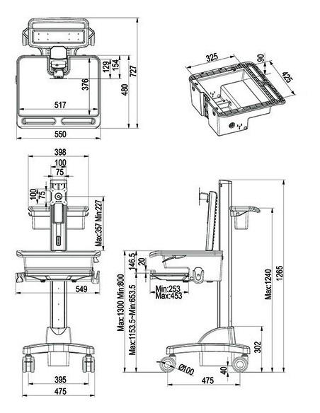 Multibrackets 0773 multimedialaitteiden kärry ja teline Hopea, Valkoinen PC Multimediakärry Multibrackets 7350073730773 - 7