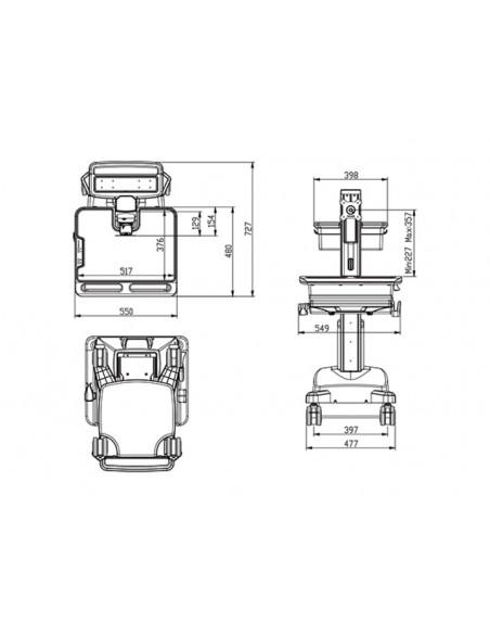 Multibrackets 0964 multimediavagnar & ställ Silver, Vit PC Multimediavagn Multibrackets 7350073730964 - 8