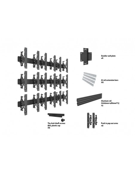 Multibrackets M Wallmount Pro MBW3x3UP Push In Pop Out Black Multibrackets 7350073735051 - 7