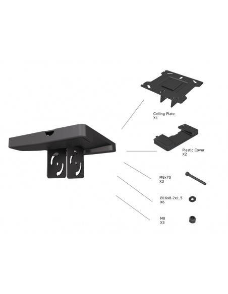 Multibrackets M Pro Series - Ceiling Plate with Plastic Cover Black Multibrackets 7350073735075 - 2