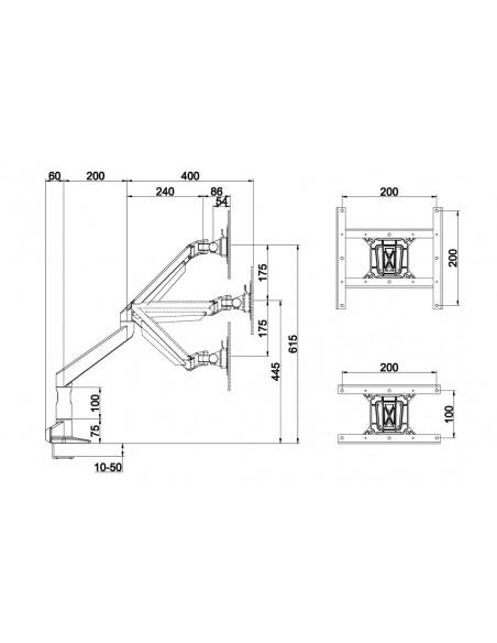 """Multibrackets 7116 monitorin kiinnike ja jalusta 96.5 cm (38"""") Puristin Valkoinen Multibrackets 7350073737116 - 22"""