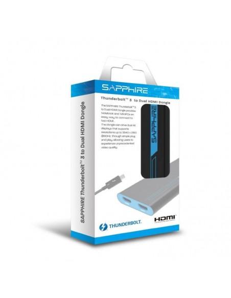 Sapphire 44005-02-20G videokaapeli-adapteri 0.28 m Thunderbolt 3 2 x HDMI Sininen, Harmaa Sapphire Technology 44005-02-20G - 4