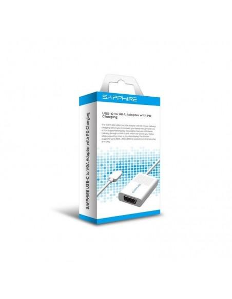 Sapphire 44005-04-20G videokaapeli-adapteri USB Type-C VGA (D-Sub) + Valkoinen Sapphire Technology 44005-04-20G - 2