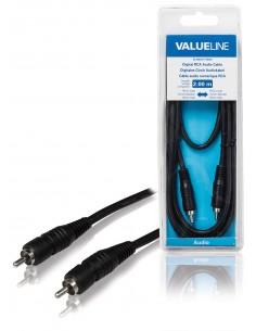Valueline VLAB24170B20 audiokaapeli 2 m RCA Musta Valueline VLAB24170B20 - 1
