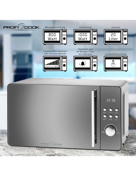 ProfiCook PC-MWG 1175 Yhdistelmämikroaaltouuni 20 L 800 W Hopea Proficook 501175 - 2