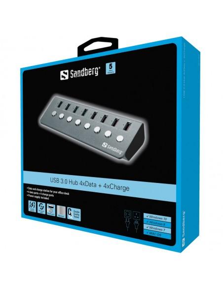 Sandberg USB 3.0 Hub 4xData + 4xCharge Sandberg 133-94 - 2