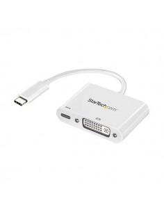StarTech.com USB-C till DVI-adapter med USB Power Delivery - 1920 x 1200 Vit Startech CDP2DVIUCPW - 1