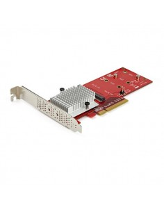 StarTech.com Dual M.2 PCIe SSD Adapter Card - x8 / x16 NVMe or AHCI to PCI Express 3.0 NGFF (M-Key) Compatible Supports 2242. St