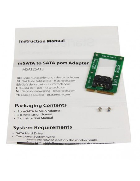 StarTech.com mSATA till SATA-HDD/SSD-adapter – Mini SATA SATA-konverteringskort Startech MSAT2SAT3 - 3