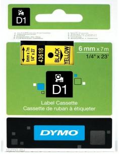 DYMO D1 - vakiopolyesteritarrat Musta keltaisella -6mm x 7m Dymo S0720790 - 1