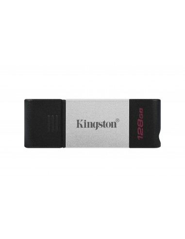 Kingston Technology DataTraveler 80 USB-muisti 128 GB USB Type-C 3.2 Gen 1 (3.1 1) Musta, Hopea Kingston DT80/128GB - 1