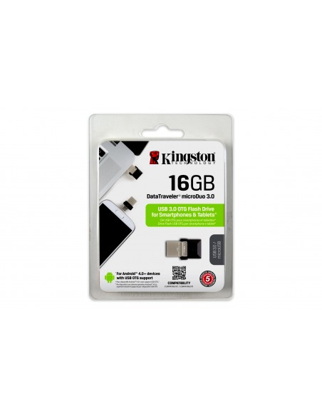Kingston Technology DataTraveler 16GB microDuo 3.0 USB-muisti USB Type-A / Micro-USB 3.2 Gen 1 (3.1 1) Musta Kingston DTDUO3/16G
