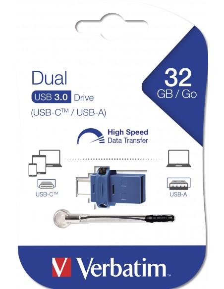 Verbatim 49966 USB-muisti 32 GB USB Type-A / Type-C 3.2 Gen 1 (3.1 1) Musta, Sininen, Hopea Verbatim 49966 - 5