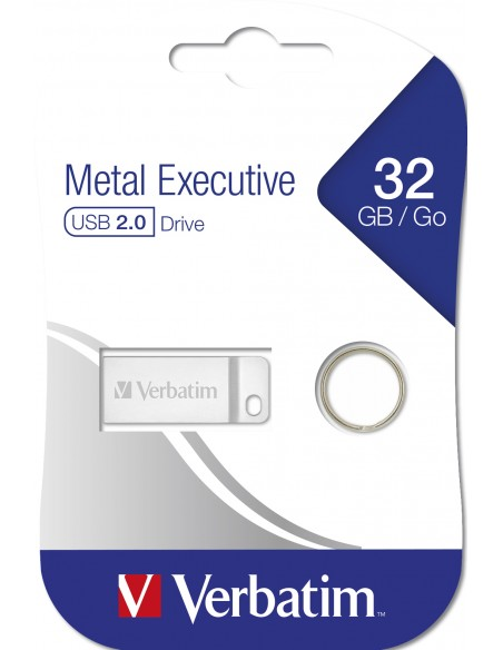 Verbatim Metal Executive USB-muisti 32 GB USB A-tyyppi 2.0 Hopea Verbatim 98749 - 6