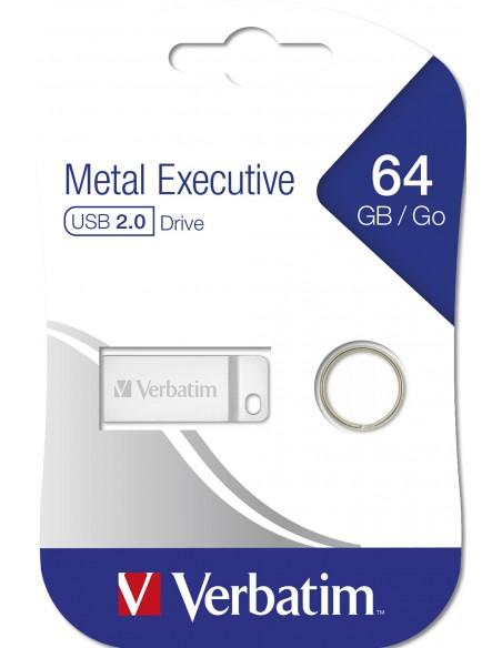 Verbatim Metal Executive USB-muisti 64 GB USB A-tyyppi 2.0 Hopea Verbatim 98750 - 6