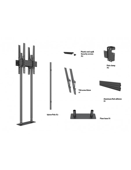 """Multibrackets 8977 kyltin näyttökiinnike 2.29 m (90"""") Musta Multibrackets 7350073738977 - 6"""