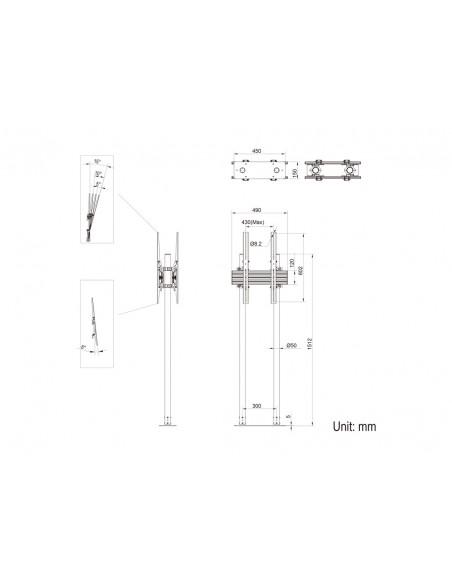 """Multibrackets 8977 kyltin näyttökiinnike 2.29 m (90"""") Musta Multibrackets 7350073738977 - 12"""