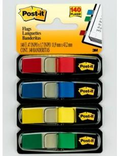 Post-It Flags, Primary Colors, 1/2 in Wide, 35/Dispenser, 4 Dispensers/Pack itsekiinnittyvä viiri 35 arkkia 3m 7000144923 - 1