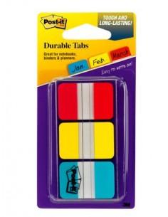 Post-It Tabs, 1 inch Solid, Red, Yellow, Blue, 22 Tabs/Color, 66/Dispenser itsekiinnittyvä liuska Sininen, Punainen, Keltainen 3