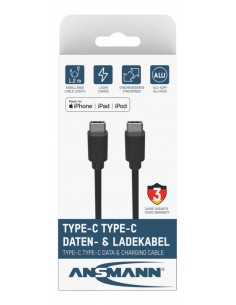 Ansmann 1700-0121 USB-kaapeli 0,12 m USB C Musta Ansmann 1700-0121 - 1