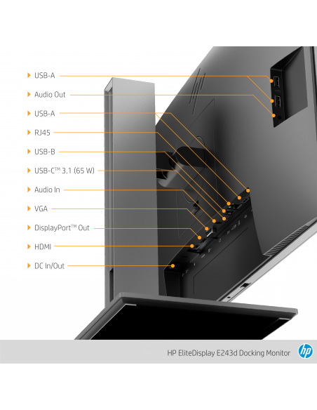 "HP EliteDisplay E243d 60.5 cm (23.8"") 1920 x 1080 pikseliä Full HD LED Harmaa, Hopea Hp 1TJ76AA#ABB - 15"