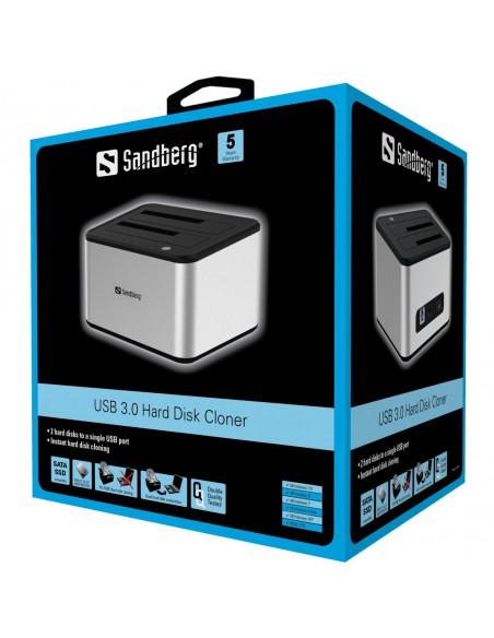 Sandberg USB 3.0 Hard Disk Cloner 3.2 Gen 1 (3.1 1) Type-B Silver, White Sandberg 133-74 - 6