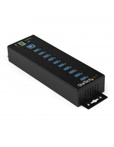 StarTech.com 10 Port USB Hub with Power Adapter - Surge Protection Metal Industrial 3.0 Data Transfer Din Rail Startech HB30A10A