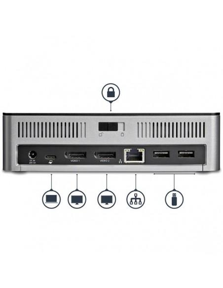 StarTech.com USB-C-dockningsstation för dubbla skärmar Windows med 2.5 tums SATA SSD/HDD-hårddiskfack Startech MST30C2HDPPD - 5