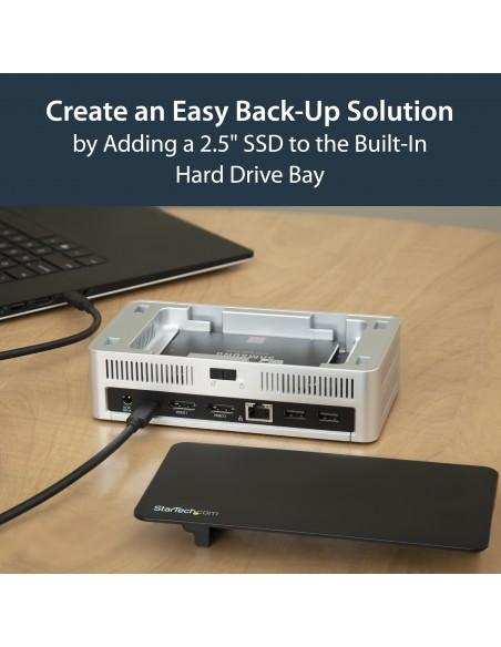 StarTech.com USB-C-dockningsstation för dubbla skärmar Windows med 2.5 tums SATA SSD/HDD-hårddiskfack Startech MST30C2HDPPD - 14