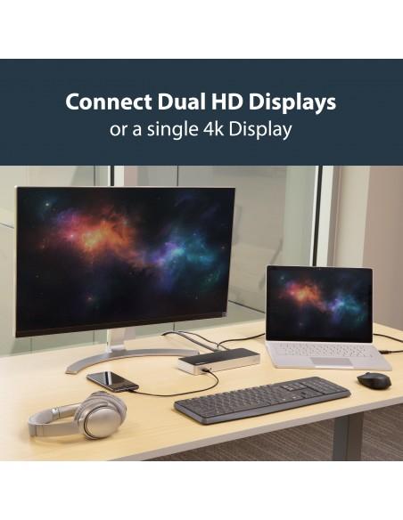 StarTech.com MST30C2HHPDU kannettavien tietokoneiden telakka ja porttitoistin Langallinen USB 3.2 Gen 1 (3.1 1) Type-C Musta Sta