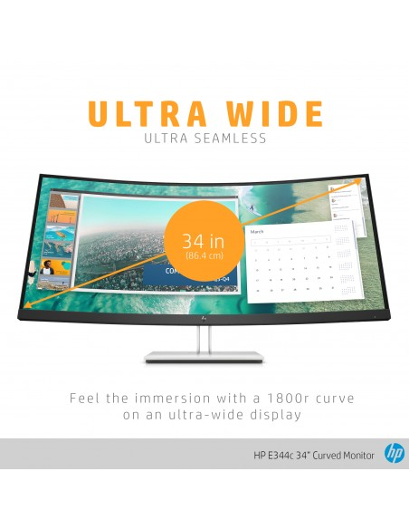 "HP E344c 86.4 cm (34"") 3440 x 1440 pixlar Quad HD Silver Hp 6GJ95AA#ABB - 15"