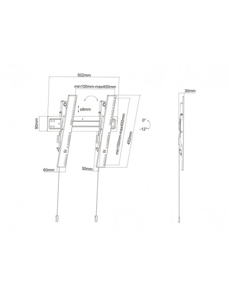 "Multibrackets 5532 tv-fäste 139.7 cm (55"") Svart Multibrackets 7350073735532 - 19"