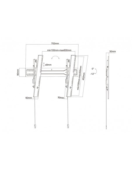 "Multibrackets 5549 tv-fäste 190.5 cm (75"") Svart Multibrackets 7350073735549 - 19"